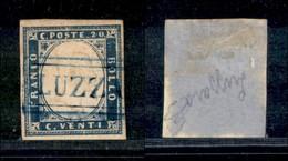 ANTICHI STATI ITALIANI - MODENA - Luzza(ra) Azzurro (P.ti R1) - 20 Cent (15B - Sardegna) - Diena + Cert. AG - Timbres