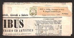 ANTICHI STATI ITALIANI - PROVINCE NAPOLETANE - Mezzo Tornese (17) Isolato Su Giornale Omnibus Del 11.9.62 Da Napoli Per  - Timbres