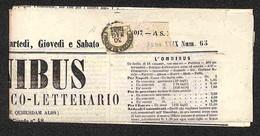 ANTICHI STATI ITALIANI - PROVINCE NAPOLETANE - Mezzo Tornese (17b - Verde Oliva) Isolato Su Giornale Del 30.5.61 - Diena - Timbres