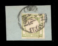 ANTICHI STATI ITALIANI - PROVINCE NAPOLETANE - 1861 - Mezzo Tornese (17e) Usato Su Frammento (600) - Timbres