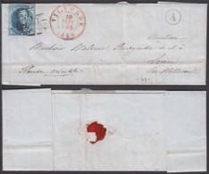 Belgique COB 6 Sur Lettre De Vilvorde 10 Sept 1856 Datée De Perk  (boite Rurale A) Vers Laerne (RD1) DC5504 - 1849-1865 Medallones (Otros)