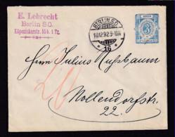 BERLIN - 1892 - 3 Pf. Ganzsache Gebraucht Mit Der REICHSPOST - Nachporto - Poste Privée