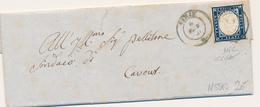 1860  SARDEGNA IV  DI SARDEGNA 0,20 15 C DA CIRIE' A CAVOUR CON TESTO - Sardegna