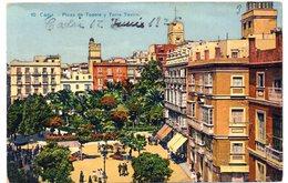 Postal  Circulada De 1925  De Cadiz. Plaza De Topete Y Torre Tavira - Cádiz