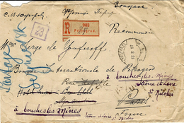 1917- Reg. Cover From PETROGRAD  To  France -fr. 10 Kon X - 1917-1923 Republic & Soviet Republic