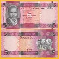 South Sudan 5 Pounds P-11 2015 UNC Banknote - Zuid-Soedan