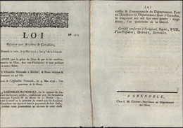 Loi Relative Aux Acadiens Et Canadiens 1792 Loi N1685 Assemblée Nationale Louis XVI Roi De France Canada - Décrets & Lois