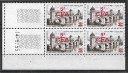 Réunion CFA N° 324 Bloc De 4 Coin Daté 14.9.55 Neuf Sans Trace De Charnière - Reunion Island (1852-1975)