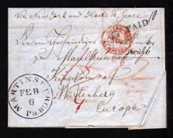 1849 - Bar Frankierter Brief Ab MARTINBURGH Nach Württemberg - Transitstempel - Etats-Unis