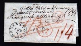 1840 - Bar Frankierter Brief Ab HAGERSTOWN Nach Maulbronn - Vermerke Und Transitstempel - Etats-Unis