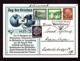 """3 Pf. Privat Ganzsache """"Tag Der Briefmarke"""" 1937 Mit Sonderstempel Berlin Nach Dänemark - Journée Du Timbre"""