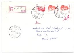 Enveloppe Omslag - Aangetekend - Gent - Stempel Cachet  1989 - Stamped Stationery