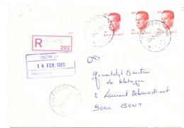 Enveloppe Omslag - Aangetekend - Overmere - Stempel Cachet  1989 - Stamped Stationery