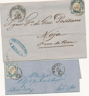 1861 PROVINCE NAPOLETANE 2 GRANA ANNULLATO NAPOLI PARTENZE E NAPOLI CON I BAFFI 2 LETTERE - Napoli