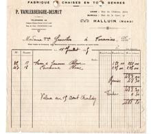 FactureFabrique De Chaises En Tous Genres P. Vanlerberghe-Desmet à Halluin En 1925 - Francia