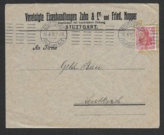 Perfin Brief Stuttgart  -  Leutkirch  1912 , Firmenlochung  Z&C  Zahn & Cie Eisenhandlung - Deutschland