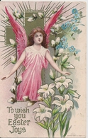 Cpa Gaufrée Fleurs Et Ange - Fantasia