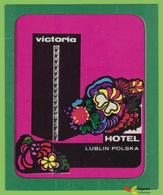 Voyo HOTEL VICTORIA Lublin Poland Hotel Label 1960s Vintage - Etiketten Van Hotels