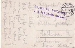 ALLEMAGNE 1914 FELDPOSTKARTE CENSUREE DE MAINZ POUR MULHOUSE - Deutschland
