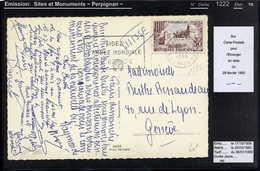 MAURY N°1222 - PERPIGNAN -  S/CP PR SUISSE DU 29/2/1960 - Storia Postale
