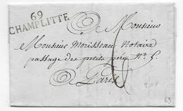 1821 - HAUTE SAONE - LETTRE De CHAMPLITTE Avec MARQUE LINEAIRE SUPERBE ! => PARIS - Postmark Collection (Covers)