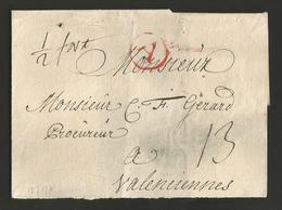 """Belgique - Précurseur - LSC De Anvers (""""A"""" En Rouge Dans Un Cercle) à Valenciennes - Port """"13"""" + """"1/2 Port"""" - 1714-1794 (Oostenrijkse Nederlanden)"""
