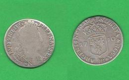 10 Sols 1710 Francia France BB Strasbourg Mint Louis  XIV° Rex 1/8 Di Ecu Re Sole Sun King - 476-1789 Monnaies Seigneuriales