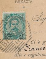 1891 UMBERTO 0,02 SU 0,05 VERDE  VARIETA' CODA SOTTILE DEL 2  BRESCIA ESAGONALE A SBARRE - 1878-00 Umberto I
