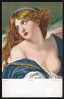 VIEILLE CPA ARTISTE - TABLEAU - PEINTURE - ART * J. GREUZE - SORROW * FILLE SEINS NUS - NU - Pittura & Quadri