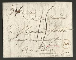 """Belgique - Précurseur - LAC De Menin (""""M"""" En Brun Dans Un Cercle) Vers Paris Du 12/01/1785 - Port """"15"""" - 1714-1794 (Pays-Bas Autrichiens)"""