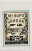 AN 844  / ETIQUETTE  -  BISHOP'S LONDON DRY GIN - Etiquettes