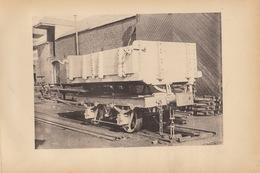 Planche Train Chemins De Fer Wagon Culbuteur Pour Mines Et Terrassement Par Baume Et Marpent Haine Saint Pierre - Spoorweg