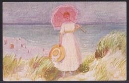 VIEILLE CPA ARTISTE - TABLEAU - PEINTURE - ART * E. SOMMAVILLA - Le Parapluie Rose * Fille - Plage - Pittura & Quadri