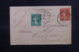 FRANCE - Entier Postal Type Semeuse + Complément De Paris Pour Tesson En 1913, Cachet De Levée Exceptionnelle- L 50890 - Entiers Postaux
