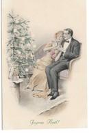 CARD FELICE NATALE COPPIA ELEGANTE AMMIRA ALBERO ILLUMINATO DA CANDELINE M.M.VIENNE MUNK-FP-N-2-0882-29375 - Unclassified