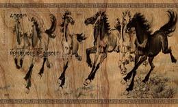 Djibouti 2019 Art Painting Eight Fine Horses By Xu Beihong Wood S/s - Djibouti (1977-...)