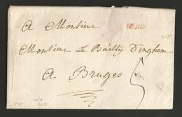 """Belgique - Précurseur - LAC De Mons (""""MONS"""" En Rouge) à Bruges Du 23/07/1768 - Port """"5"""" - 1714-1794 (Pays-Bas Autrichiens)"""