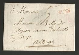 """Belgique - Précurseur - LAC De Mons (""""MONS"""" En Rouge) à Bruges Du 07/10/1783 - Port """"5"""" - 1714-1794 (Pays-Bas Autrichiens)"""