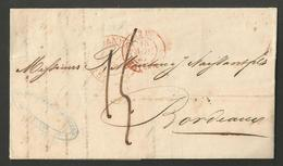 """Belgique - Précurseur LAC De Anvers Vers Bordeaux Du 17/04/1847 - Cachets """"BELG. VALnes"""" + """"PARIS 11"""" + """"BORDEAUX"""" - 1830-1849 (Belgique Indépendante)"""