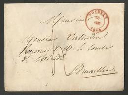 Belgique - Précurseur LSC De Tournai (TOURNAY En Rouge) Vers Bruxelles Du 15/02/1844 - 1830-1849 (Belgique Indépendante)