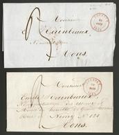 Belgique - Précurseur 2 LSC De Tournai (TOURNAY Cachet DC En Rouge) Vers Mons - 30/03/1845 Et 21/08/1845 - 1830-1849 (Belgique Indépendante)