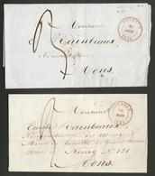 Belgique - Précurseur 2 LSC De Tournai (TOURNAY Cachet DC En Rouge) Vers Mons - 30/03/1845 Et 21/08/1845 - 1830-1849 (Onafhankelijk België)
