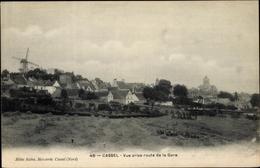 Cp Cassel Nord, Vue Prise Route De La Gare, Blick Auf Den Ort, Windmühle, Kirche - Frankrijk