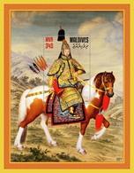 Maldives 2019 Art Painting Emperor Qianlong Reviews Troop Silk Perf.  S/s - Maldives (1965-...)
