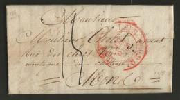 Belgique - LAC Bruxelles (cachet DC BRUXELLES En Rouge) Vers Mons Du 09-10-1833 - 1830-1849 (Belgique Indépendante)
