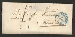 Belgique - LAC De Bruxelles à Tournai Du 05/08/1846 - Cachet Rouge Vacation 3 Au Verso - 1830-1849 (Onafhankelijk België)