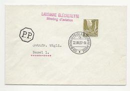 Schweiz Suisse 1937: Zu 201 Mi 297 Yv 289 O LAUSANNE BLÉCHERETTE Meeting D'aviation 22.VIII.37 BUREAU POSTE AUTOMOBILE - Autres Documents