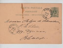 JS719/ Entier CP 13B C.Bas-Oha 1894 > Blankenberg C.d'arrivée - Postcards [1871-09]