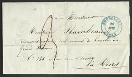 Belgique - LSC De Bruxelles à Mons Du 26/06/1845 - Arrivée Mons Le 26/06/1845 Au Verso - 1815-1830 (Hollandse Tijd)