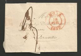 Belgique - Précurseur - LSC De Mons à Bruxelles Du 18/07/1837 - 1830-1849 (Onafhankelijk België)